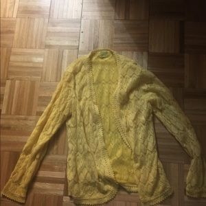 Yellow cardigan sweater no buttons